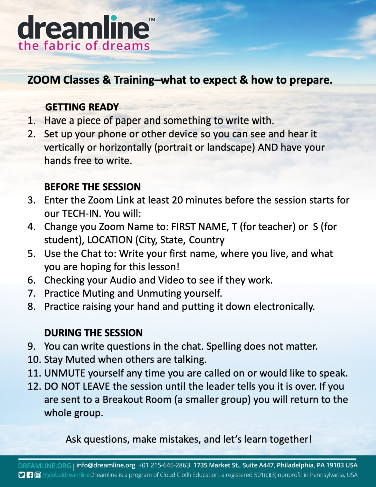 Zoom Sessions - Prep and Expectations